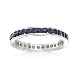 Sterling Silver Sapphire Eternity Band Ring Sz 8